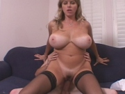 Filthy Mom deepthroathing and enjoys riding cock and licked