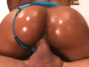 This hot big bootied ebony gets down and dirty with that phat booty gettin creamed on